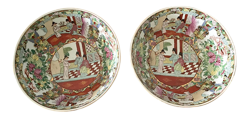 1950s Rose Medallion Bowls - a Pair