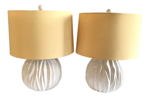 1960s Modern White Sphere Shaped Table Lamps - a Pair