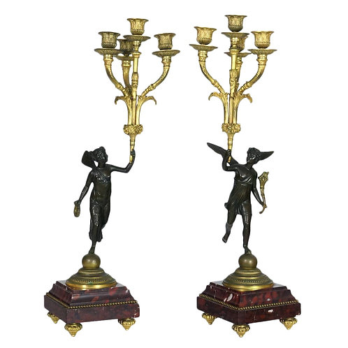 French Empire Bronze and Marble Candelabras - A Pair