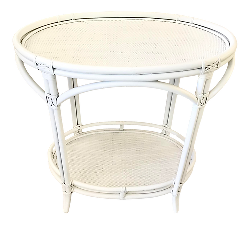 Boho Chic Oval Rattan Bar Table White Lacquer