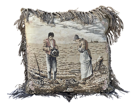 French Square Decor Tapestry Pillow With a Couple Scene
