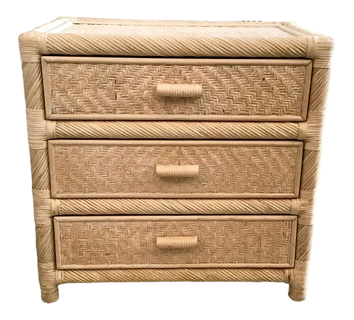 Boho Chic Rattan 3 Drawer White Washed Chest