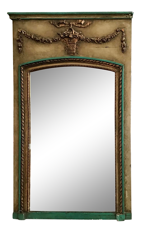 Small Classic French Boiserie Mirror in Original Painted Finish