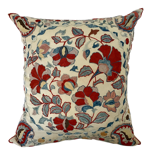 Hand Embroidered Boho Chic Toss Pillow
