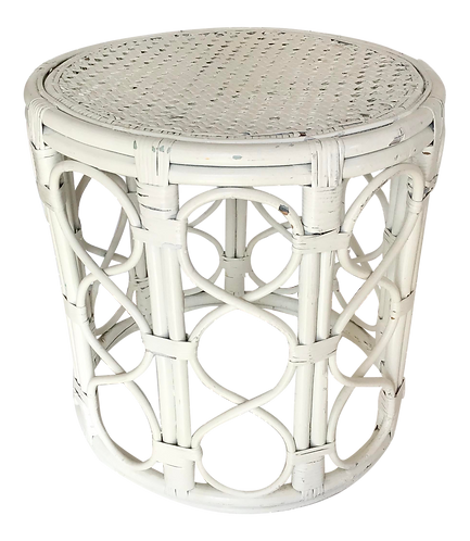 Boho Chic Rattan Drum Cocktail Table in White Finish