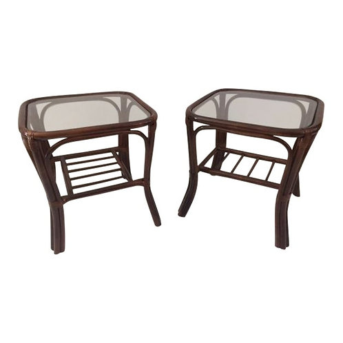 1980s Boho Chic Rattan Side Tables - a Pair