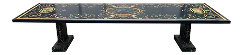 Large Italian Painted Faux Pietra Dura Dining Table