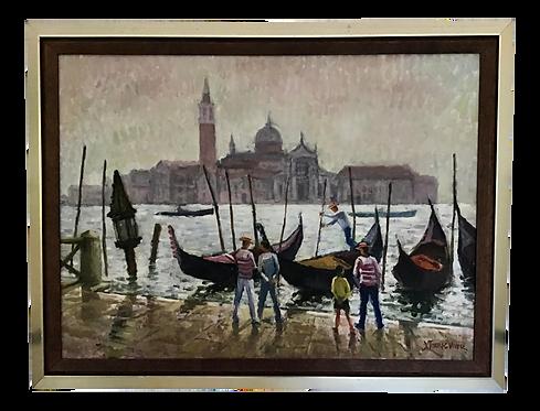 Vintage 1950's Venice Oil Painting