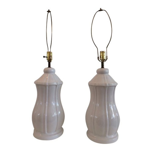 Vintage Hollywood Regency Blanc Pottery Table Lamps - a Pair
