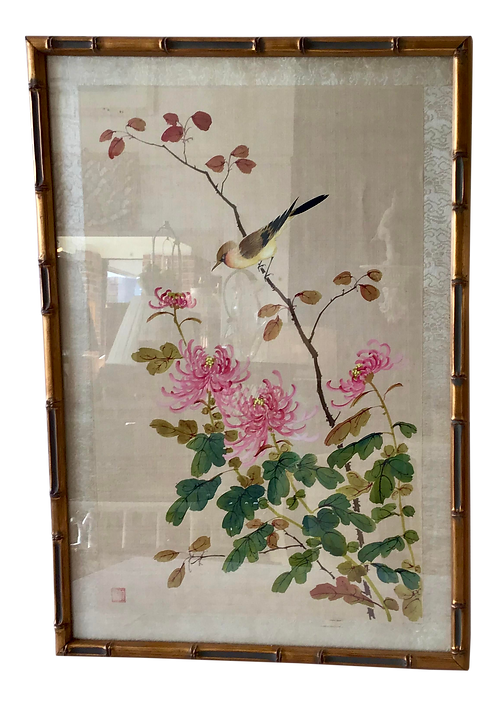1950s Asian Bird and Flora Painting on Silk