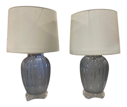 Gray Murano Glass Table Lamps - a Pair