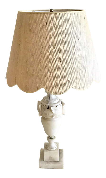 Marble Urn Table Lamp With Raffia Shade