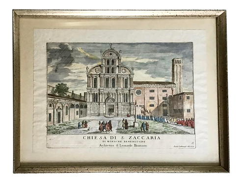 Architectural Italian Lithograph of a Church