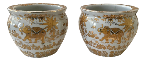 Small Asian White With Gold Cache Pots - a Pair