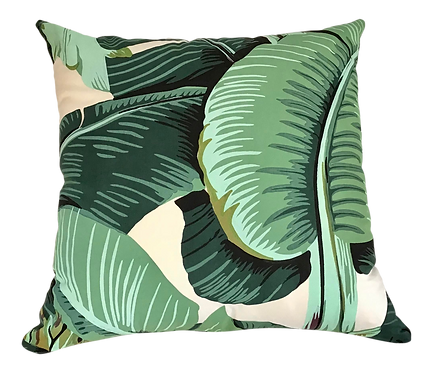 Palm Beach Regency Toss Pillows in Banana Leaf Silkscreen Fabric