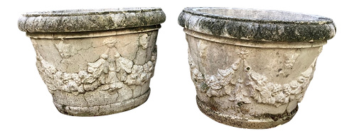 French Limestone Planters - a Pair