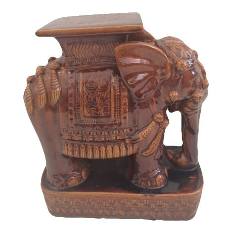 Elaborately Decorated Brown Elephant Garden Seat.