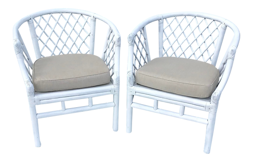 Ficks Reed Rattan Boho Chic Barrel Chairs - a Pair