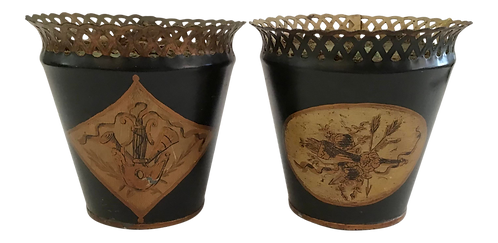 French Tole Cachepots - a Pair