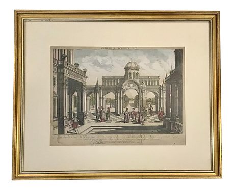 French 18th C Etching of Architectural Scene With Watercolor Details