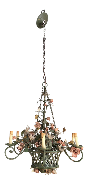 1950s French Tole Basket and Flora Chandelier