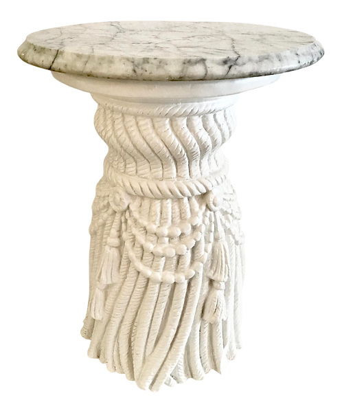 Hollywood Regency Cast Tassel Cocktail Table With a Gray Marble Top