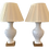 Thumbnail: Hollywood Regency White Ceramic Vase Form Table Lamps - A Pair