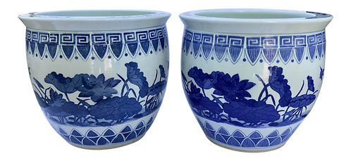 Asian Blue and White Cache Pots- a Pair