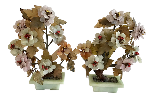 Asian Semi Precious Stone Carved Floral Bouquets in Pots - a Pair
