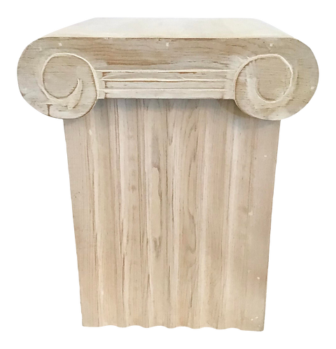 Ionic Column Form Wood Storage Cocktail Table With Removable Capital Top