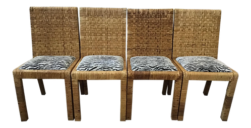Bielecky Brothers Rattan Side Dining Chairs - Set of 4