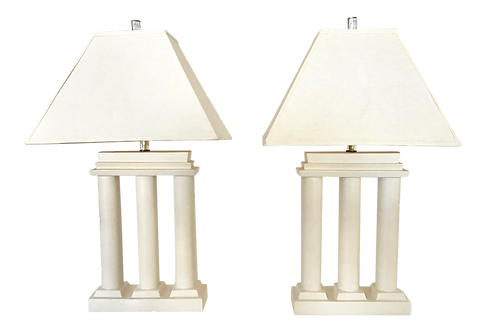 Ceramic Greek Columns Lamps With Lucite Base - a Pair