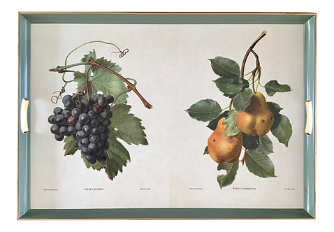 Serving Tray With Fruit Drawings