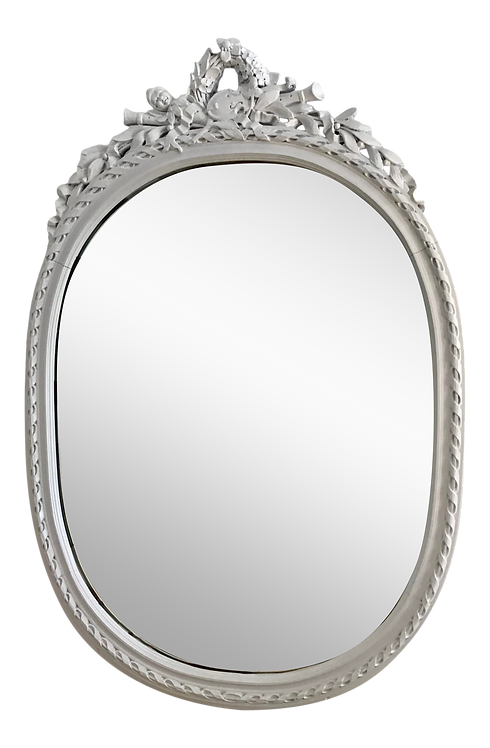 French Louis XVI Oval Mirror in White Painted Finish