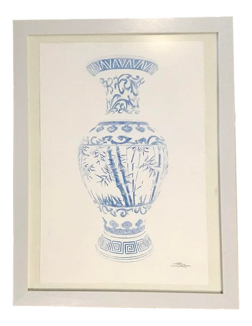 Blue and White Vase Watercolor Painting
