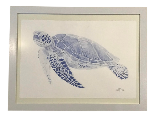 Hand Painted Watercolor of a Sea Turtle Left