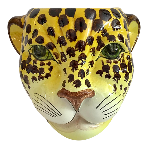 1960s Yellow and Brown Spotted Leopard Cache Pot