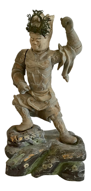 Asian Ching Dynasty Carved Wood Male Sculpture