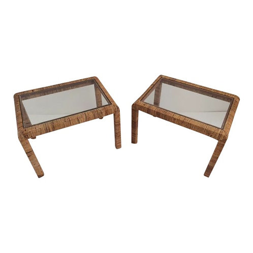 1980s Boho Chic Bielecky Brothers Rattan Side Tables - a Pair