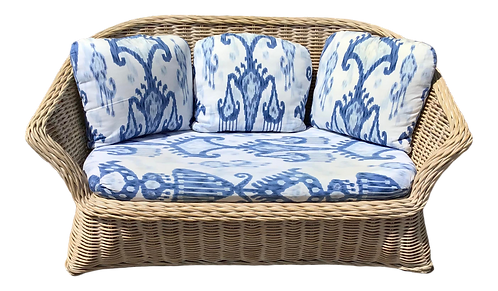 Boho Chic Rattan Loveseat With Blue and White Cushions