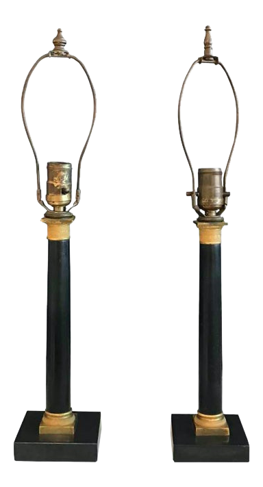 Empire Candlestick Lamps - a Pair