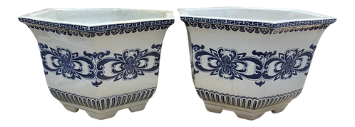 Hexagonal White and Blue Cachepots - a Pair