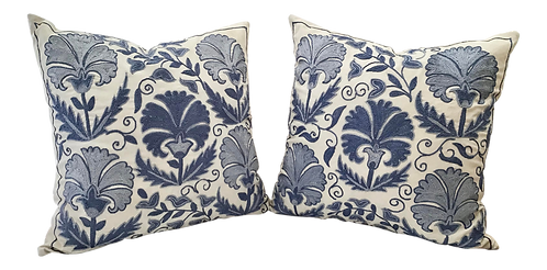 Boho Chic Blue and White Hand Embroidered Toss Pillows - a Pair