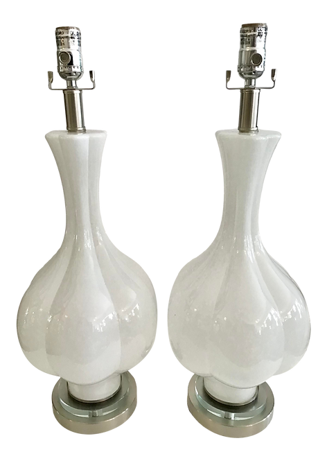 White Murano Glass Tall Vase Lamps With Lucite Bases - a Pair