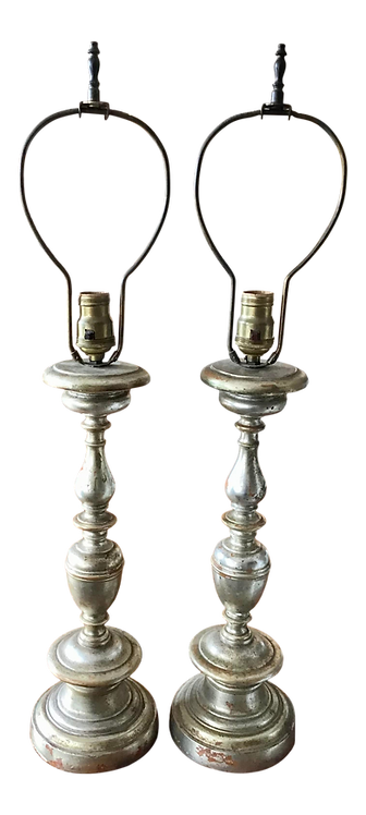 Classical Silver Leaf Table Lamps - a Pair