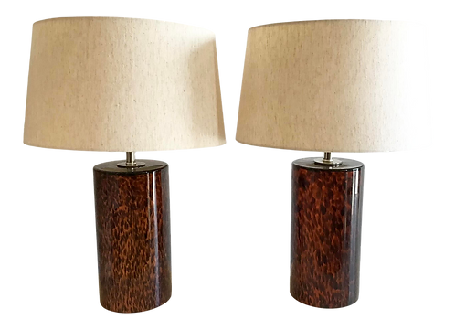 Tortoise Glass Table Lamps in a Cylindrical Form - a Pair