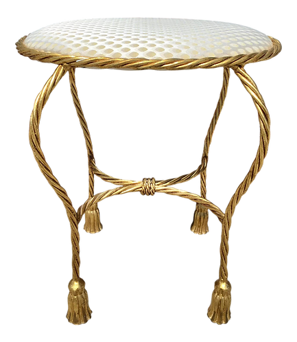Oval Bench With Tassel Motif in Gold