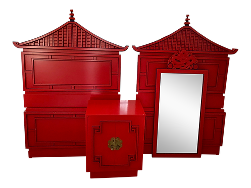 Red Lacquered Asian Pagoda Twin Bedframe Set - A Pair