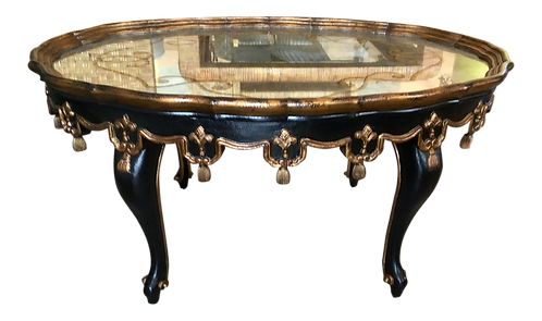 Oval Hand Carved Continental Style Mirrored Top Coffee Table