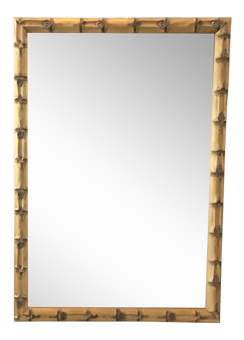 Boho Chic Faux Bamboo Gilt Framed Mirror